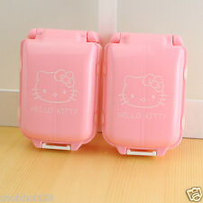 Cute Pink Hello Kitty Folded Pill Box Organizer Medicine Vitamin Storage Travel