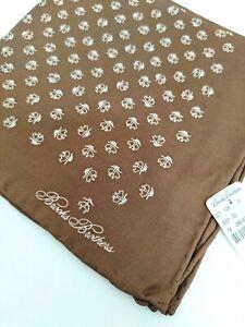 Brooks Brothers 100% Silk Brown LOGO Pocket Square NWT