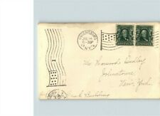 1906 Ogdensburg, New York cancel, # 300 pair stamps, letter enclosed, Flag cance