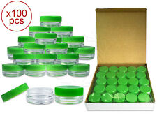 100 Pieces 3 Gram/3ml Plastic Round Clear Sample Jar Containers with Green Lids