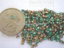 24 x Swarovski 2mm x 2mm Emerald gold-foiled squares