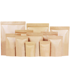 Kraft Paper Foil Bag Resealable Zip Lock & Stand Up Pouch Heat Seal - Food Grade