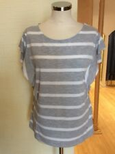 Monari Top Size 18 BNWT Grey White Striped Flutter Sleeves RRP £49 Now £22