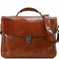 Leather Messenger Bag Briefcase Bag Satchel Brown  (0407OLU)