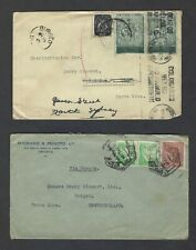 Portugal to Newfoundland 1940 Two covers to Burgeo NFLD, split ring, 1 forwarded