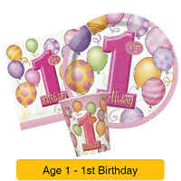 1st BIRTHDAY BALLOONS PINK Girl Party Range - Age 1 Tableware & Decorations