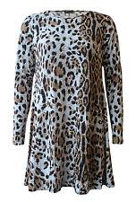 New Women Ladies Tartan Check Print Long Sleeve Swing Flared Top Dress Plus Size