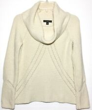 Ann Taylor Petite Women's Knitted Beige Sweater- Cowl- Wool & Cashmere- Size XSP