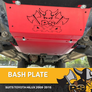 Bash Plate Sump Guard 4mm for Toyota Hilux 2005-2015 2pc RED Powder Coated