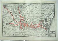 Original 1924 Chesapeake & Ohio Railroad System Map. Vintage