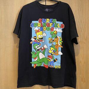 THUMBS Mens Size XL Super Springfield Bros T-Shirt Mario Simpsons Nintendo RARE
