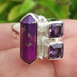 Purple Copper Turquoise & Amethyst Silver Plated Handmade Ring Size - 7.5 RI-041