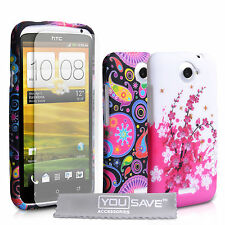 Accessories For HTC One X Floral Pattern Silicone Gel Case Cover & Screen Film