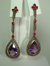 Fine Victorian 19.5ct  Amethyst  diamonds & Ruby Dangle Earrings Rose Gold
