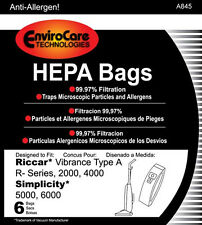 6 Simplicity Type A Hepa Vac Bags for 5000, 6000 Series
