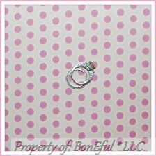 BonEful FABRIC FQ Cotton Quilt VTG Baby Girl Nursery Pink Dot Breast Cancer Lady