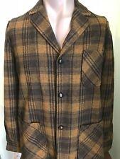 Vintage Pendleton Mens Small - Medium Virgin Wool Shirt Jacket Black Brown Plaid