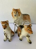 Vintage Japan Ceramic Collie Lassie Dog Pups on Chains Figurines glazed finish