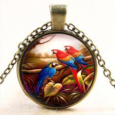 Vintage Pretty Parrot Photo Cabochon Glass Bronze Chain Pendant Necklace
