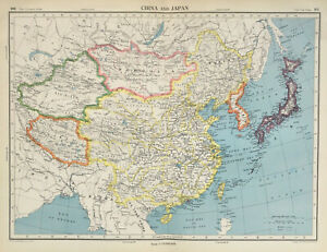 Antique Map Of China & Japan 1947 Asia Mongolia Tibet Korea