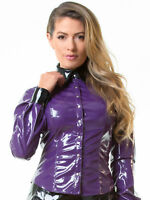 Honour Women's Shirt Blouse in PVC Purple with Shaped Hem Top Fetish Wear