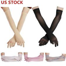 US Women's Mesh Seamless Finger Pantyhose Gloves Long Sheer Transparent Mittens