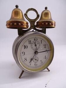 Antique German Double Bell Brass Alarm Clock Victorian 1890s Vintage Old Retro