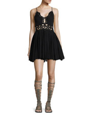 Free People Illectra $128 cotton/lace mini dress Black  New with tag Medium