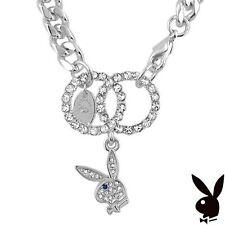 NEW Playboy Bracelet Infinity Circle Swarovski Crystal Bunny Charm Silver Plated