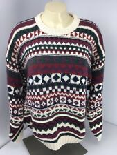 Eddie Bauer Women's L Nordic Xmas Sweater USA MADE New NWT Cable Knit Vtg 90s