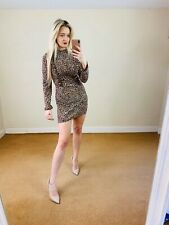 Topshop 8 Leopard Print Mini Dress Ruffle Party Glamour