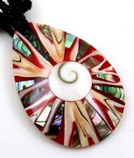 PAUA ABALONE SHELL , CONE SHELL, SHIVA EYE necklace ; CA308