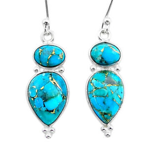 925 Sterling Silver 9.16cts Blue Copper Turquoise Dangle Earrings Jewelry T34013