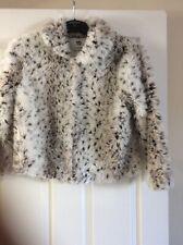 Girls Black White Brown Fox Fur Coat Age 10.11 Yrs