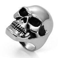 Heavy Gothic Skull Biker Stainless Steel Men's Ring High Polish Halloween Gift