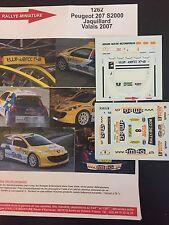 DECALS 1/43 PEUGEOT 207 S2000 CHRISTIAN JAQUILLARD RALLYE VALAIS 2007 RALLY WRC
