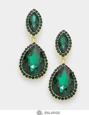 "1.6"" Green Emerald Gold Long Rhinestone Crystal Pageant Dangle Earrings Formal"