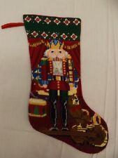 "Vtg Completed Needlepoint 18"" Stocking XMas Nutcracker Toys Bear Violin Gift"