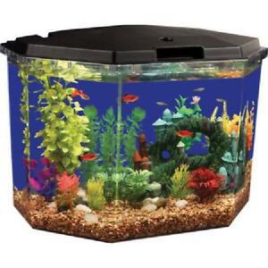 Lighting Aqua Culture Semi-Hex 6.5 Gal Aquarium Kit With LED And Filtration Tank