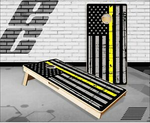 Distressed Yellow Line Cornhole Boards Bean Bag Toss Game