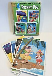 Porky Pig Lot of 4 Vintage Frame-Tray Puzzles, 1973 Warner Brothers, Whitman