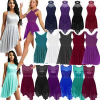Women Lyrical Dance Dress Sequined Ballet Latin Leotard Skirts Dancewear Costume