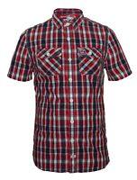SUPERDRY New Men's Shirt Check Pattern Short Sleeve Logo Buttons Pockets BNWT