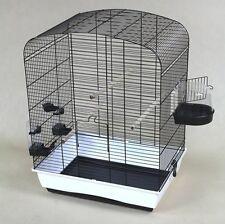 Cage pour Oiseaux Elena Noir Blanc Oiseau Accueil avec Accessoires