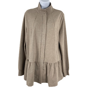 Cabi 3543 Weekend Topper Jacket Fossil Peplum Zip Stretch Women's Medium