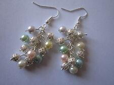 Drop / Dangle Earrings - Multi-coloured Pearl & Filigree Clusters - Silver Plate