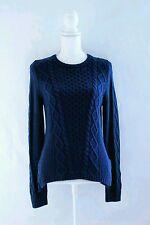 Banana Republic Crewneck Cable Sweater Pullover Sz M Merino Wool Blue LS