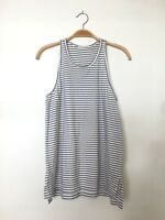 ALTERNATIVE Women's Sleeveless Racerback Striped Tank Top White Tee Shirt S $75
