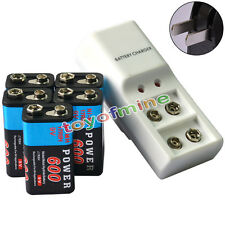 5x 9V 6F22 PPS Block 600mAh Ni-Mh Rechargeable Battery + Dual Batteries Charger