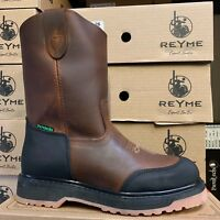 MEN'S WORK BOOTS GENUINE LEATHER BROWN OIL RESISTANT WITH RUBBER TOE PROTECTION